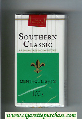 Southern Classic Menthol Lights 100s cigarettes soft box
