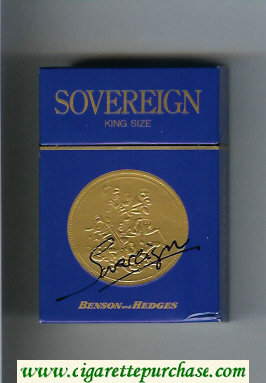 Sovereign Benson and Hedges cigarettes blue hard box