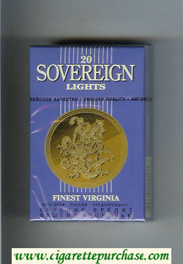 Sovereign Lights Finest Virginia cigarettes blue hard box