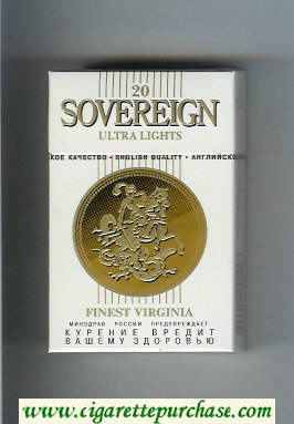 Sovereign Ultra Lights Finest Virginia cigarettes white hard box