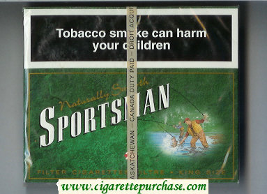 Sportsman Naturally Smooth 25 Cigarettes green wide flat hard box