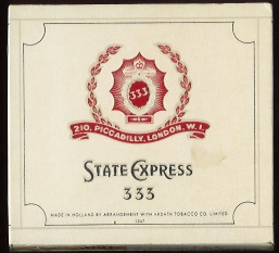 333 State Express cigarettes wide flat hard box