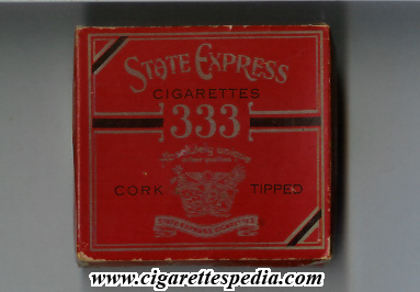 State Express 333 Cork Tipped cigarettes wide flat hard box