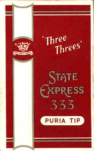State Express 333 Three Threes Puria Tip cigarettes hard box