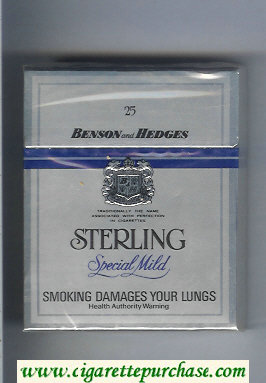 Sterling 25 Benson and Hedges Special Mild cigarettes hard box