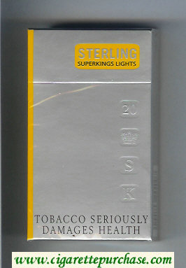 Sterling Lights 100s cigarettes hard box