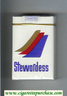 Stewardess cigarettes white and blue and red and gold soft box