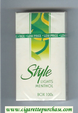 Discount Style Lights Menthol 100s cigarettes hard box