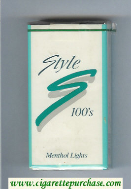 Style Menthol Lights 100s cigarettes soft box