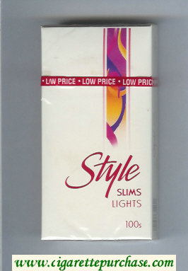 Style Slims Lights 100s cigarettes hard box