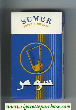 Sumer 100s Cigarettes blue and white hard box