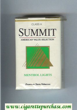 Summit Menthol Lights Cigarettes soft box