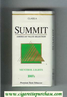 Summit Menthol Lights 100s Cigarettes soft box