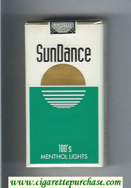 SunDance 100s Menthol Lights Cigarettes soft box