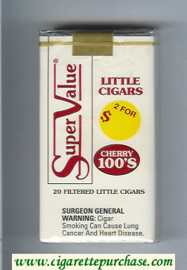 Super Value Cherry 100s Little Cigars Cigarettes soft box