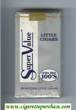 Super Value Ultra Mild 100s Little Cigars Cigarettes soft box