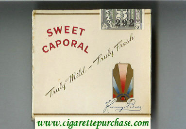 Sweet Caporal Cigarettes wide flat hard box