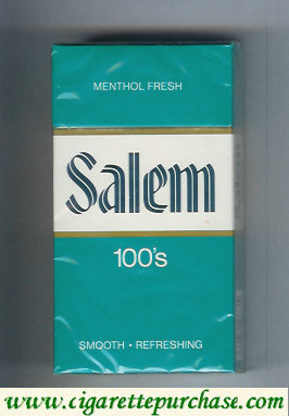 Salem 100s Menthol Fresh green and white and green cigarettes hard box