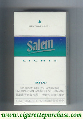 Discount Salem Lights 100s with line Menthol Fresh cigarettes hard box