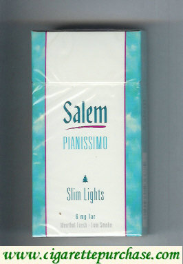 Discount Salem Pianissimo Slim Lights Menthol Fresh 100s cigarettes hard box