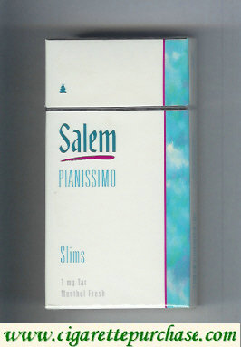 Discount Salem Pianissimo Slims Menthol Fresh 100s cigarettes hard box