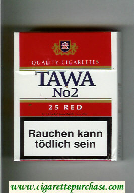 Tawa No 2 25 Red cigarettes hard box