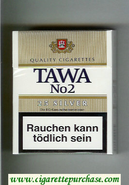 Tawa No 2 25 Silver cigarettes hard box