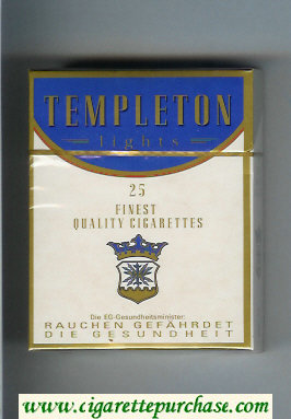 Templeton Lights 25 Finest Quality cigarettes hard box