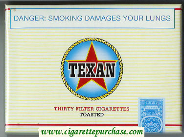 Texan Toasted 30 Filter cigarettes wide flat hard box