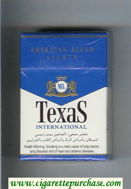 Texas International American Blend Lights cigarettes hard box