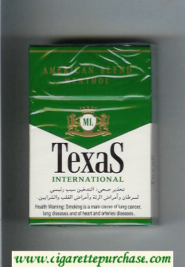Texas International American Blend Menthol cigarettes hard box