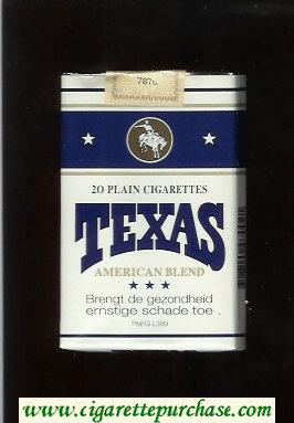 Texas American Blend Plain cigarettes white and blue soft box