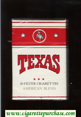 Texas American Blend cigarettes white and red hard box