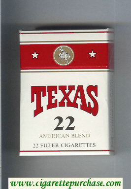 Texas 22 American Blend cigarettes white and red hard box
