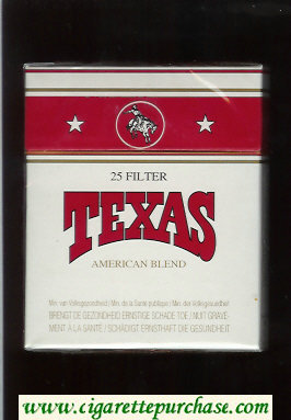 Texas 25 Filter American Blend cigarettes white and red hard box