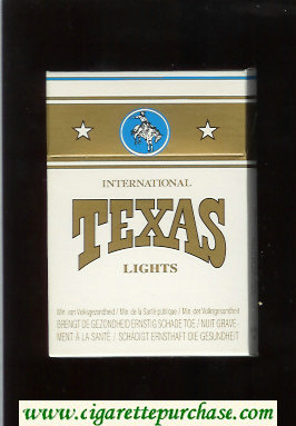 Texas Lights International cigarettes white and gold hard box