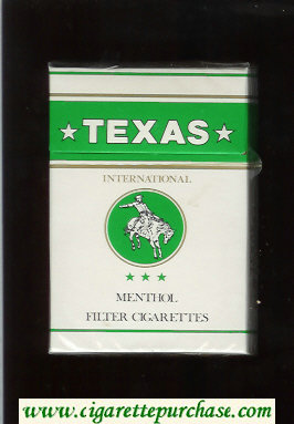 Texas Menthol International cigarettes white and green hard box