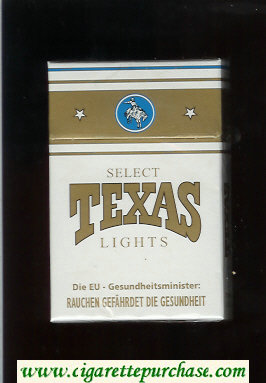 Texas Select Lights cigarettes white and gold hard box