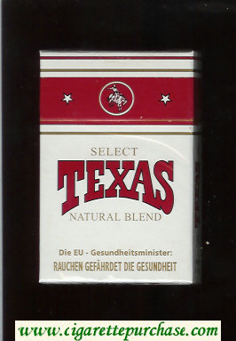 Texas Select Natural Blend cigarettes white and red hard box