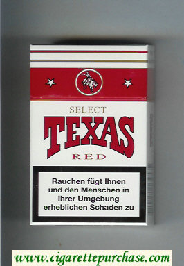 Texas Select Red cigarettes white and red hard box