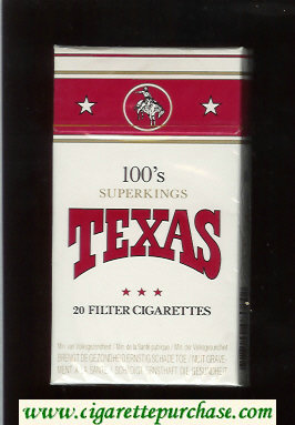 Texas 100s Superkings cigarettes white and red hard box