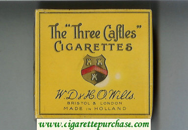 The 'Three Castles' cigarettes yellow wide flat hard box