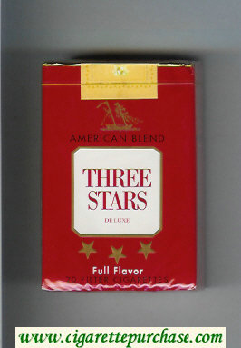 Three Stars American Blend Full Flavor De Luxe cigarettes soft box