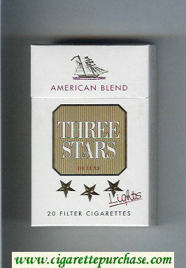 Three Stars American Blend Lights De Luxe cigarettes hard box