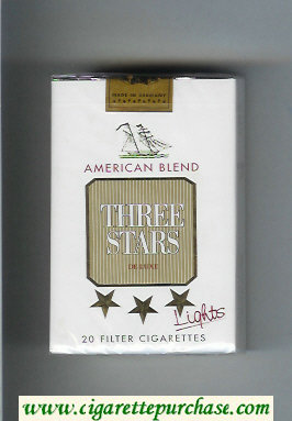 Three Stars American Blend Lights De Luxe cigarettes soft box