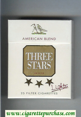Three Stars American Blend Lights De Luxe 25 Filter cigarettes hard box