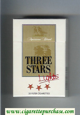 Three Stars Lights American Blend cigarettes hard box