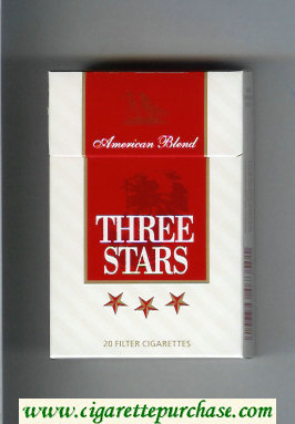Three Stars American Blend cigarettes hard box