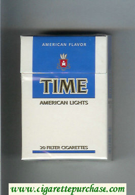 Time American Lights American Flavor cigarettes white and blue hard box