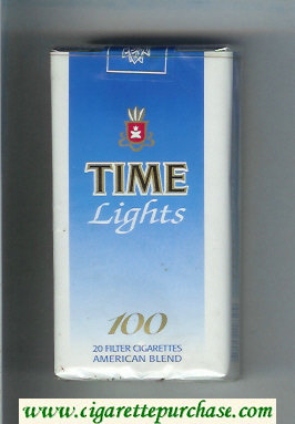 Time Lights 100 American Blend cigarettes blue and white soft box